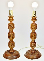 Vintage Hand Carved Turned Wood Table Lamps - A Pair image 2