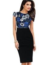 Merope J Womens Printed Ruffles Neck OL Pencil Contrasted DressS,Navy + ... - $26.39
