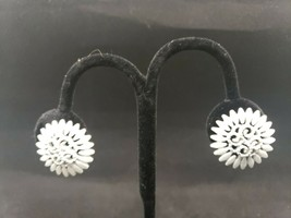 Vintage Monet White Enamel Gold Tone Clipon Button Sunflower Earrings - $14.99