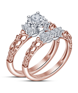 925 Silver Round Cut White Cz Rose Gold Fn New Design Engagement Bridal ... - $76.58