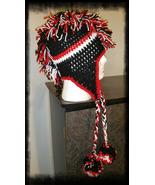 Black, Red & White Handmade Crochet Mohawk Hat/Pom Poms - $30.00