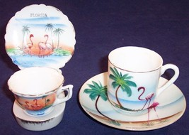 Set of 2 Florida Souvenir Flamingo Mini Collectible Tea Cup Sets, 5 Piec... - $8.99