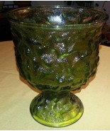 "Vintage E.O. BRODY CO Green Glass 6.5"" Textured Crinkle Vase or Fruit Bowl - $17.96"
