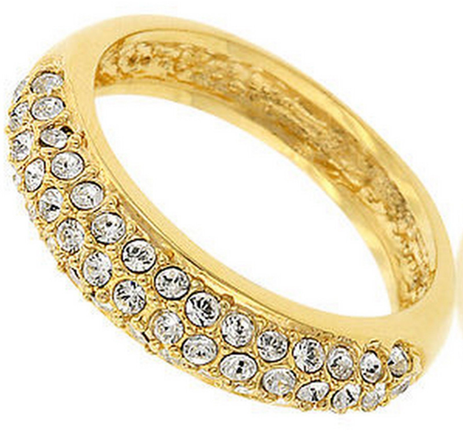 Primary image for Womens Ladies Classic Prom Blitz Gold Plated Band Glam Clear CZ Ring Size 7