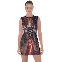 tunic top lace-up short dress the flash superheroe clubwear - $40.00+