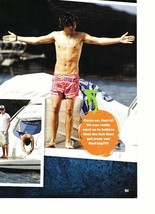 Harry Styles teen magazine pinup clipping One Direction shirtless on a boat wet
