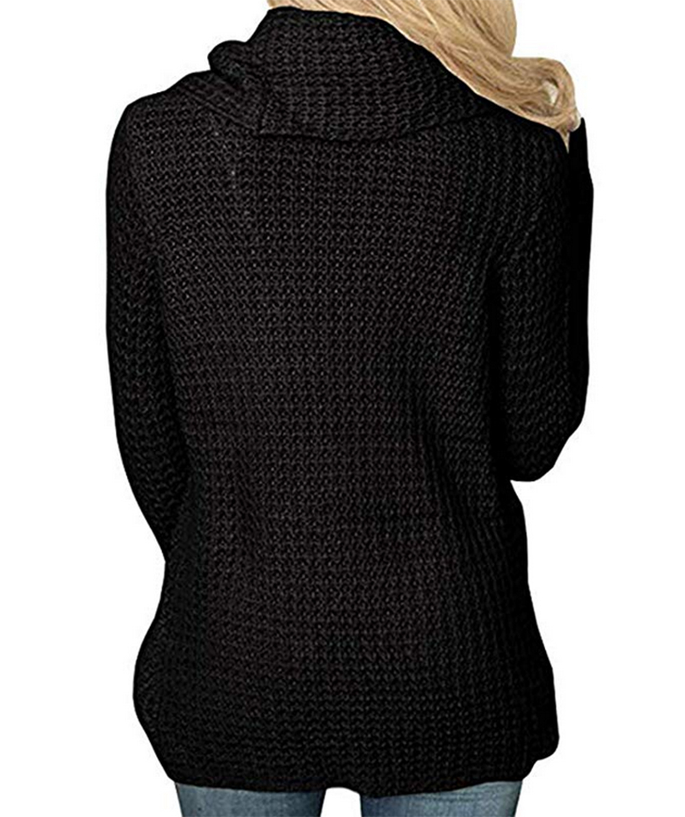 Women's Turtleneck Sweaters Chunky Cable Knit Pullover Sweater Coats with Button