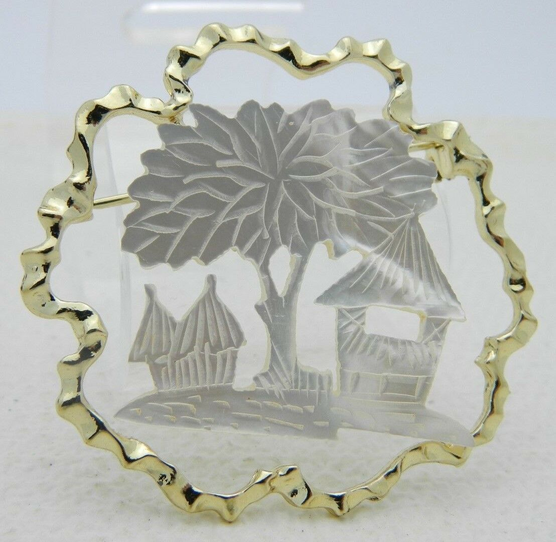 Vintage Gold Tone Mother of Pearl Tiki House Tree Scene Pin Brooch