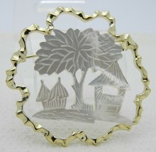 Vintage Gold Tone Mother of Pearl Tiki House Tree Scene Pin Brooch - $19.80