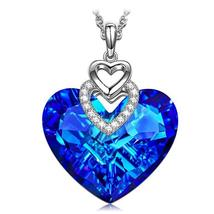Swarovski Crystals Bermuda Blue Pave Heart Drop  Necklace - $16.00