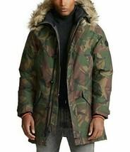 Polo Ralph Lauren men's faux fur hooded Camo Down Parka Jacket size Large $548 - $307.05