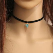 Custom Trendy Unique Style New Fashion Black Velvet Choker Stone Pendant... - $9.99