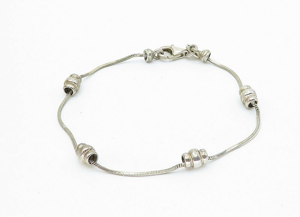 925 Sterling Silver - Vintage Petite Beaded Accent Thin Chain Bracelet - B5934
