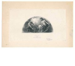 Mining Allegory, Goddess, Die Engraving on India, c. 1900 signed Geo. La... - $189.00