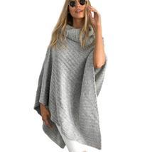 Vintage Irregular Knitted Turtleneck Women Poncho Sweater - $41.78