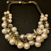 Vintage Crystal Pearl Metal Necklace Wedding Special Occasions Stunning - $8.90