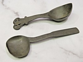 Two Early Antique Pewter Primitive Serving Spoons - $67.32