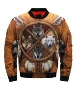 """2019  Bomber Jacket """"4 wolves dream catcher native"""" fashion jacket size ... - $82.99"""