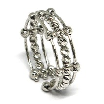 White Gold Ring 750 18K, Band, Spheres Faceted, 3 Wires, Shank Open image 2