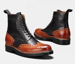 Men Two Tone Oxford Genuine Magnificiant Leather Wing Tip Brogues Toe Boots - $169.90 - $299.99