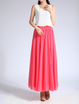 Melon Red Chiffon Skirt High Waisted Beach Chiffon Skirt Plus Size image 4