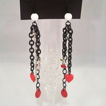 bebe LONG BLACK , WHITE , RED CHERRY DROP DANGLE EARRINGS - $10.00