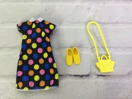 Mattel Barbie Doll Fashion Clothing Outfit ONLY Polka Dot Dress Yellow S... - $14.84
