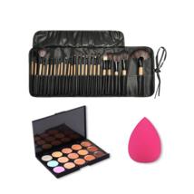 Multi Color Foundation Concealer Pro Makeup Brushes Tools Set with Spong... - $30.84
