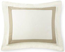 Portofino Pillow Sham Tencel / Cotton, Ivory ground with TAUPE Applique ... - $29.35
