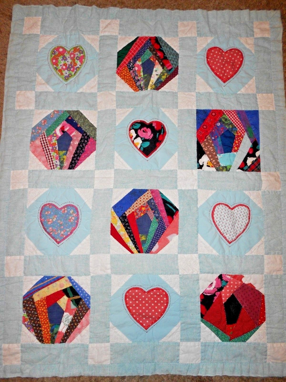 Handmade Baby Toddler Quilt Blue Patchwork Strips Hearts Polka Dot