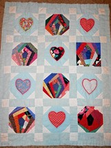Handmade Baby Toddler Quilt Blue Patchwork Strips Hearts Polka Dot - $26.61