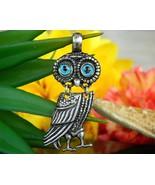 Owl Athena Bird Goddess Articulated Silver Pendant Greek Grecian Roman - $22.95