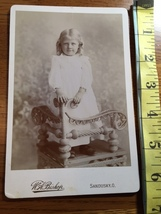 Cabinet Card Beautiful Young Girl White Dress Stands on Chair 1860-80! - $12.00