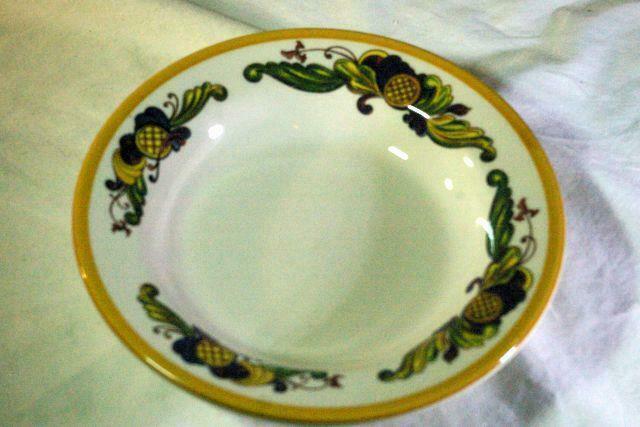 """Homer Laughlin Multi Color Leaf Scrolls Soup Bowl 9"""""""