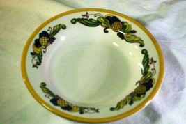 "Homer Laughlin Multi Color Leaf Scrolls Soup Bowl 9"" - $4.40"