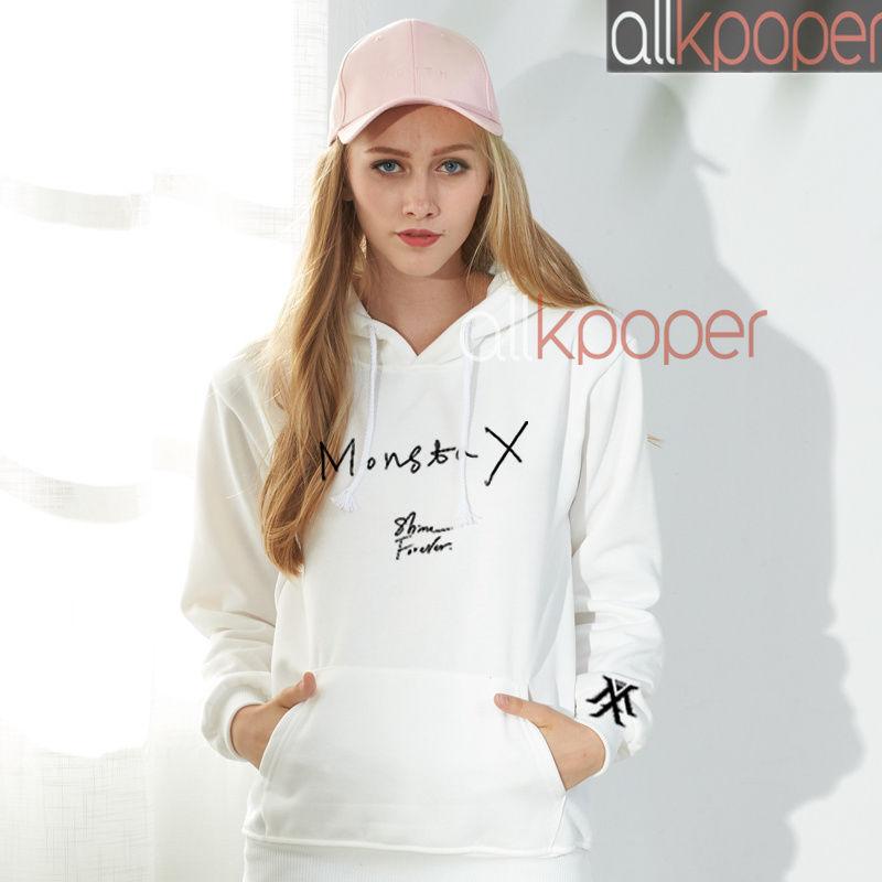 Kpop Monsta X Cap Hoodie Shine Forever Shownu I.M Yookihyun Jooheon Pullover