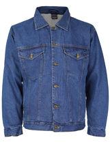 NYT Men's Classic Button Up Cotton Sherpa Trucker Denim Jean Jacket image 6