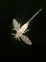 60s Alice Caviness silver filagree bee/bug/insect brooch with moveable wings image 5