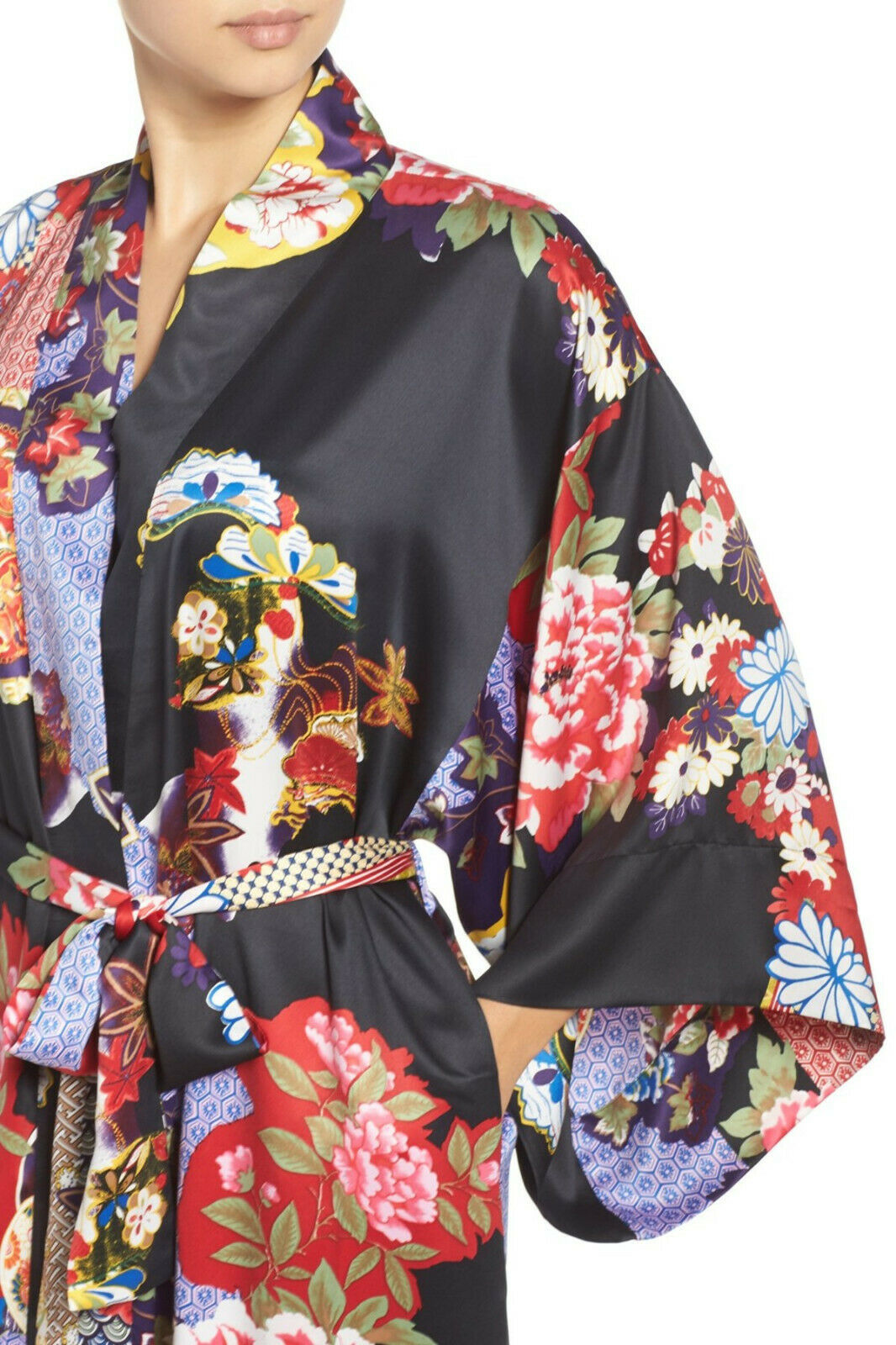 NWT New Designer Natori Wrap Robe Womens S Silky Satin Flowers Blue Red White image 3