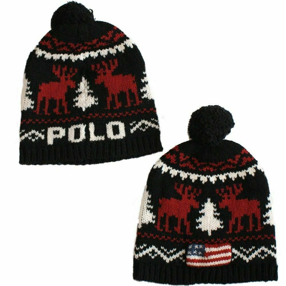 bbfe24f73f898 POLO RALPH LAUREN Black Red Reindeer USA Flag Logo Wool Pom Pom Cap Hat -   49.99