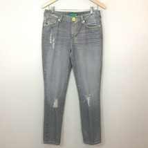 Baby Phat Womens Destroyed Boyfriend Jeans Size 9 Gray Yellow Accents Di... - $19.99