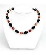 N2 TWISTED BLACK ONYX & CARNELIAN NECKLACE WITH STERLING SILVER BEADS AND CLASP - $29.70