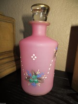 Antique 1880s.French Opaline Pink Hand Painted Glass Perfume  Scent Bott... - $95.00