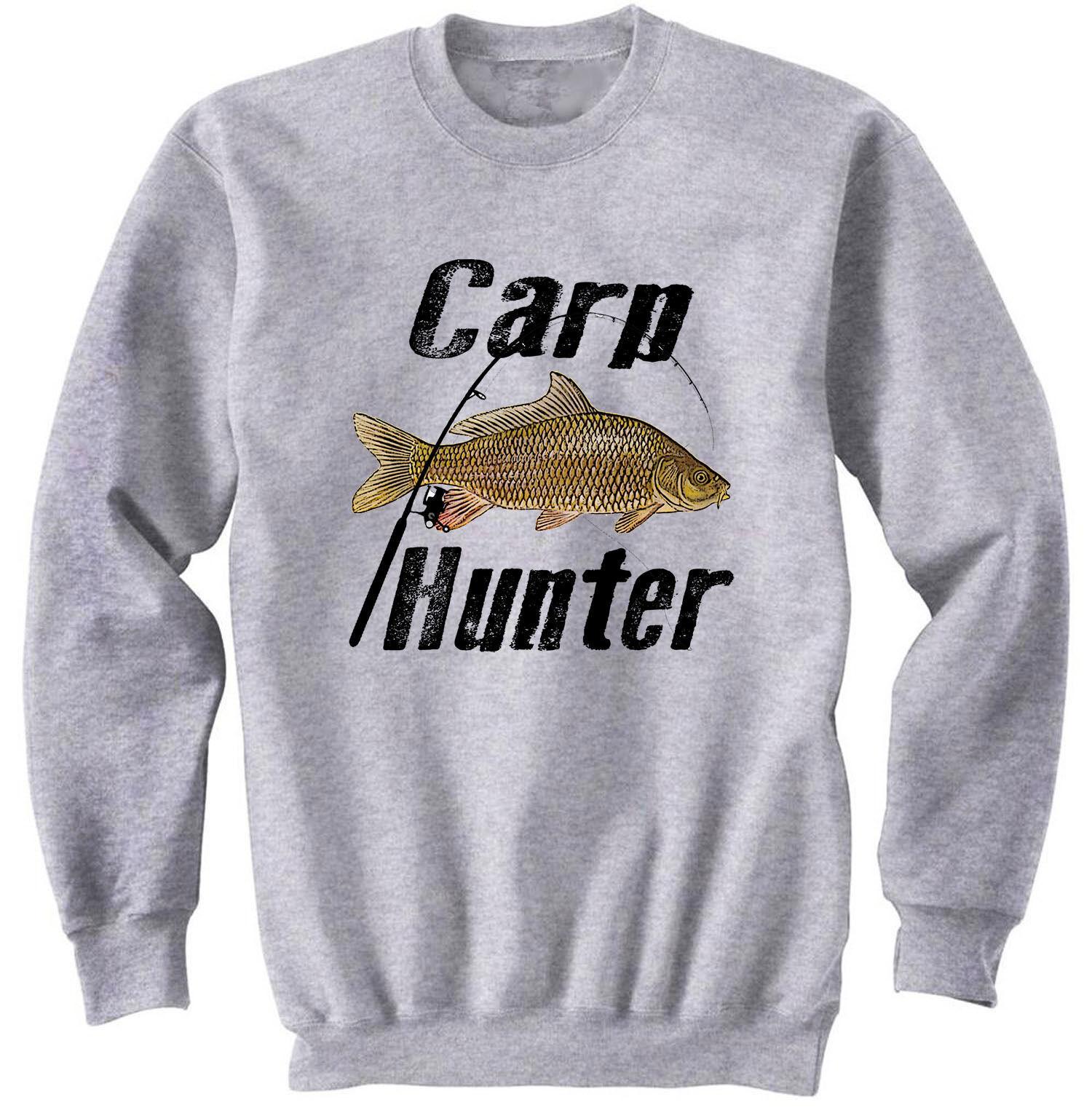 CARP HUNTER - NEW COTTON GREY SWEATSHIRT - $31.88