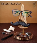Eximious India Moustache Spectacle Holder Wooden Eyeglass Stand Handmade... - $18.05