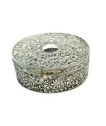 Vintage Oval Silver Plated Jewelry Trinket Box Blue Velvet Lining - $25.74