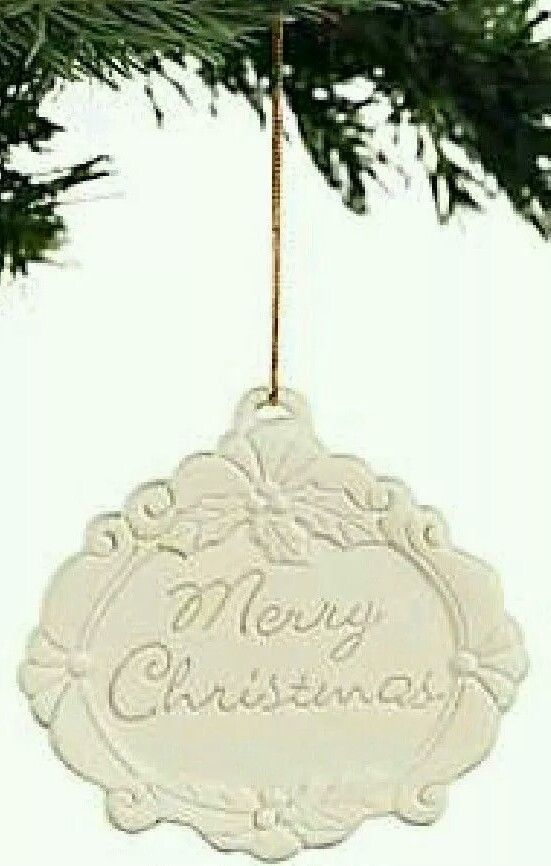 Primary image for New Ivory Jade Engraved MERRY CHRISTMAS Porcelain Christmas Tree Ornament