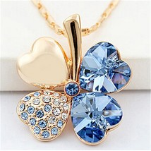 SHDEDE Four Leaf Clover Necklaces Pendant Heart Crystal from Swarovski E... - $10.55