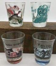 4 Novelty Shot Glasses Anchor Hocking Roving Eye, 2 Western & Pheasants ... - $16.50