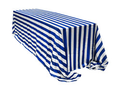 Satin Tablecloth Royal Blue/White Striped 90 x 156 inch Rectangular - $49.99